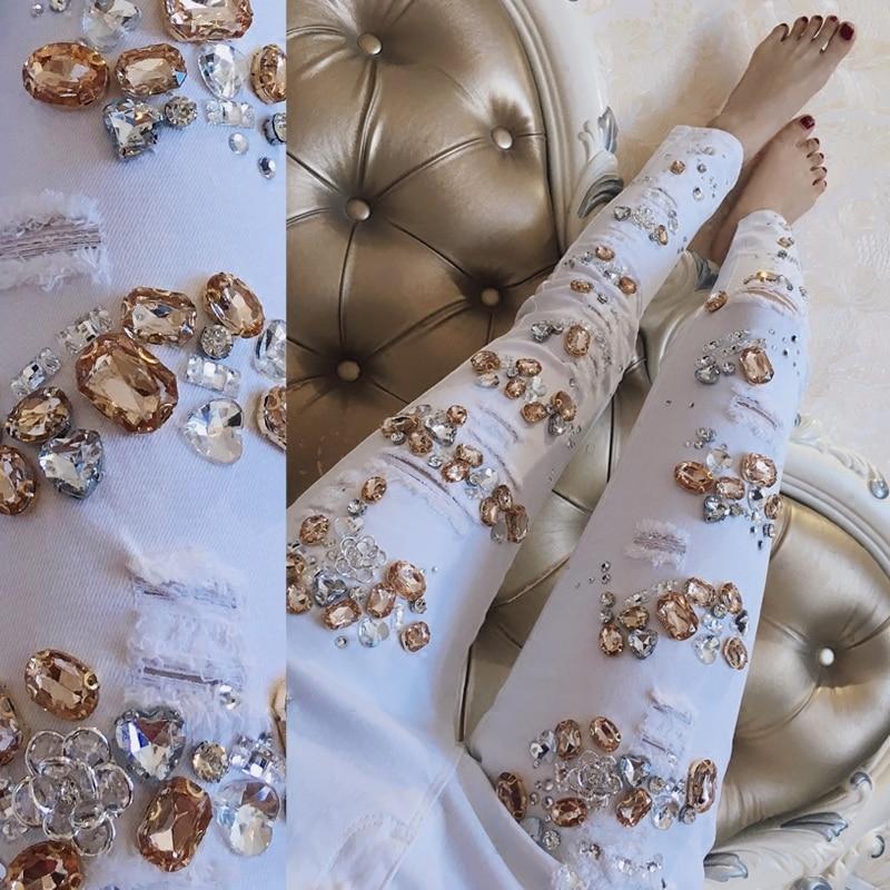 Avec perles de luxe diamant déchiré Jeans Femme pantalon Stretch blanc Jeans Femme trou Jeans Femme mince Denim crayon pantalon