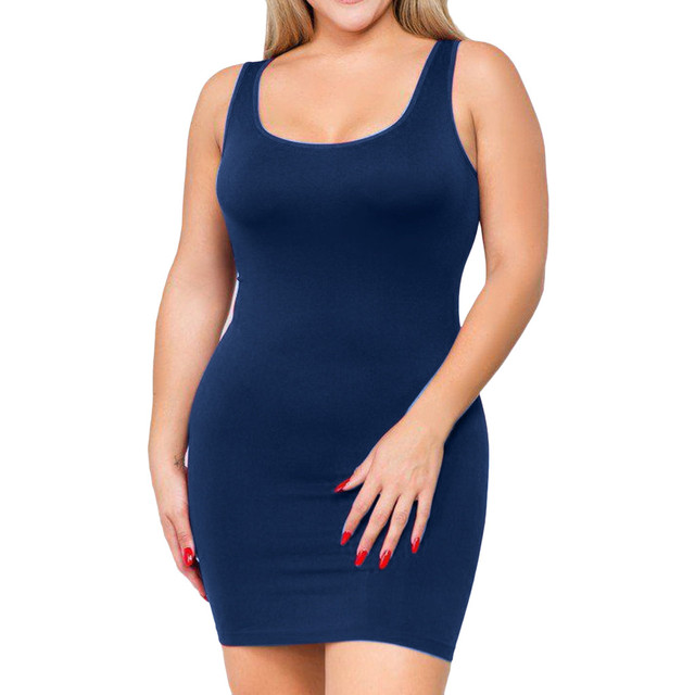 plus size dresses for women 4xl 5xl 6xl party bodycon dress elegant midi O-neck Solid Color Sleeveless sexy dress women club#G6 3