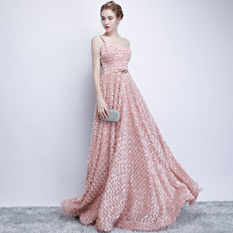 Pink Lace Sleeveless Spaghetti Straps Long Bridesmaid Dress 4