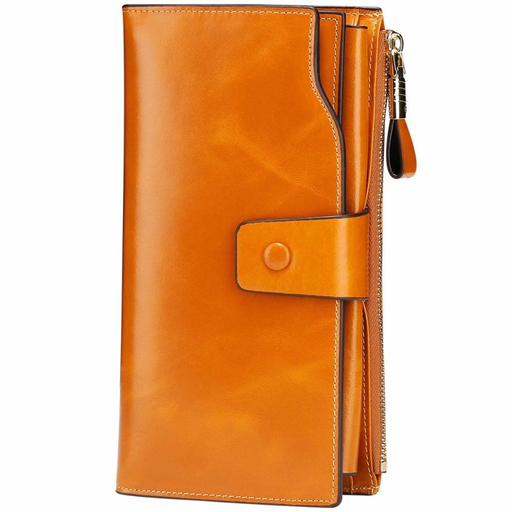 Купить с кэшбэком 2018 Itslife Women's RFID Blocking Large Capacity Luxury Wax Genuine Leather Clutch Wallet Card Holder Organizer Ladies Purse