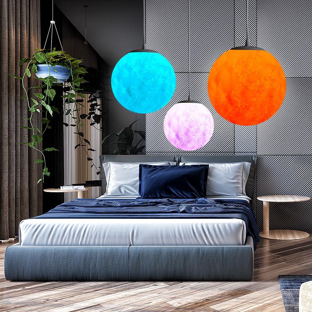 7 Colors Pendant Lights Novelty Creative 3D Print Moon Atmosphere Night Light Lamp Restaurant/Bar Hanging Lighting худи print bar moon and trees