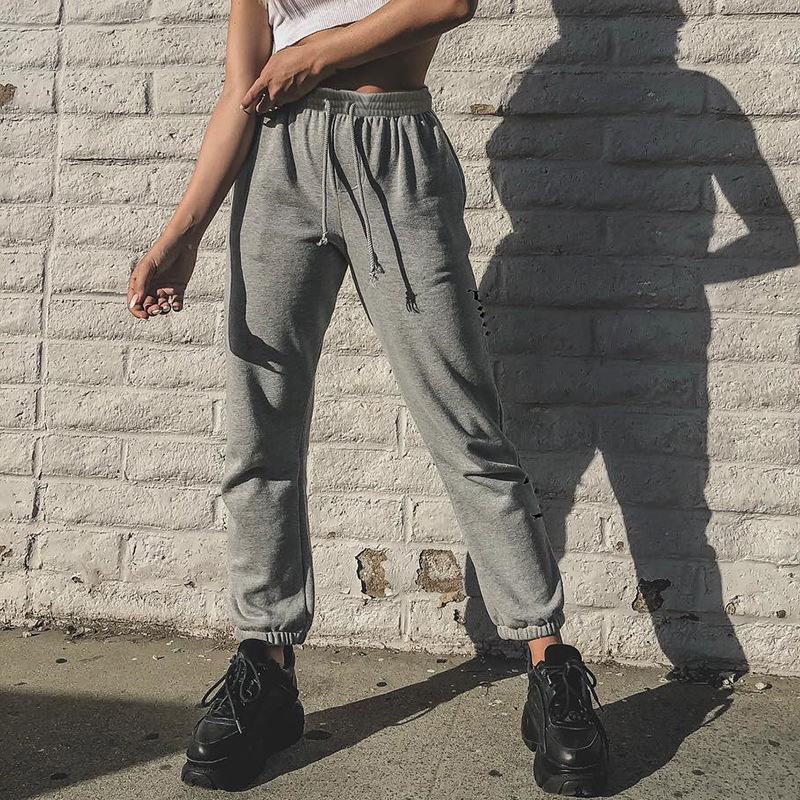 Casual Grey   Pants   Women Sweatpants and Joggers Letter Print High Waist Loose Female Trousers 2019 Streetwear Ladies   Pants     Capri