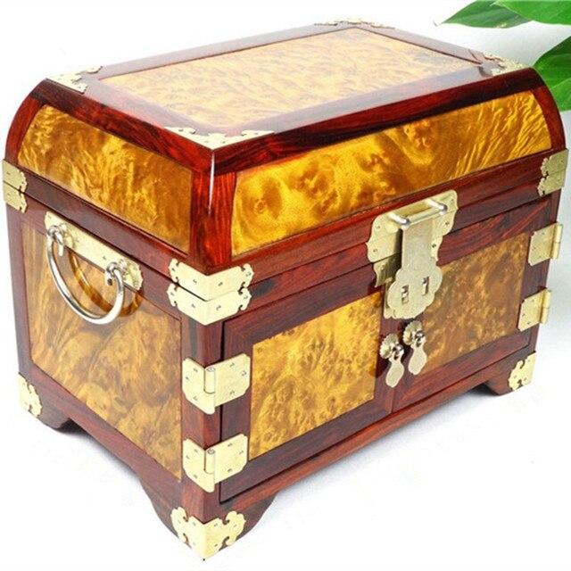 Gold camphor Moon mirror box red wood jewelry box jewelry box