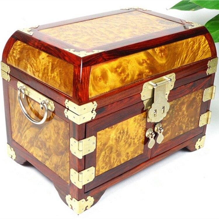 Or camphre Lune miroir boîte en bois rouge boîte à bijoux boîte à bijoux de mariage cadeau idées et pratique Décoration