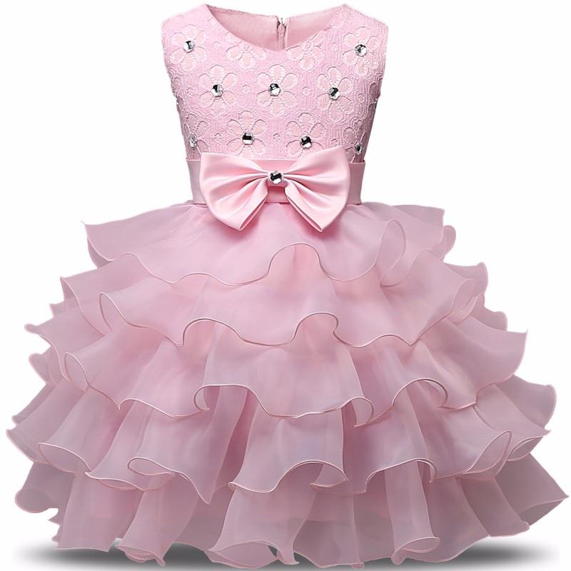 Newborn Baby Girls Summer Dress Christening Toddler Girl 2nd Birthday Outfits Pink Tutu Baptism Kid Party Dresses 6 9 24 Months
