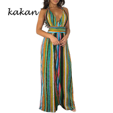Kakan summer new women's sling print jumpsuit colorful stripes sexy backless V-neck jumpsuit without belt недорого