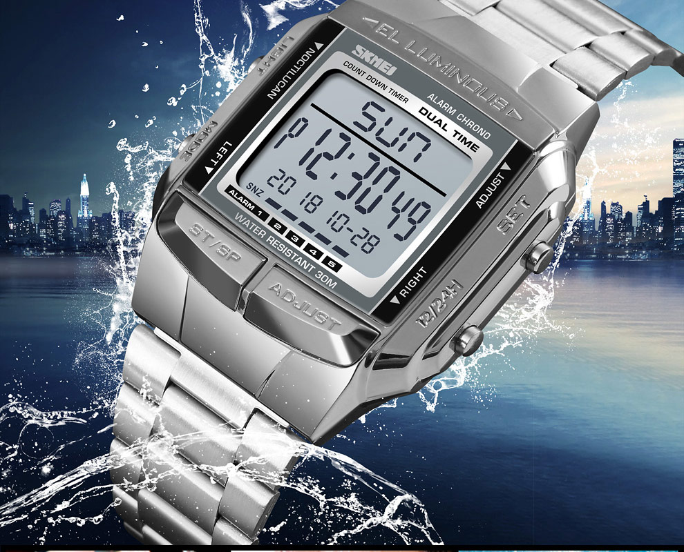 SKMEI Sports Watch Men Digital Watch Alarm Clock Countdown Watch Large Dial Glass Mirror Clock Fashion Outdoor Relogio Masculino 18