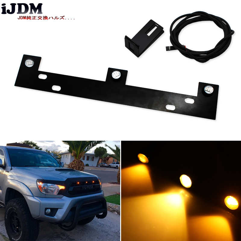 3 Pcs High Power Super Bright Raptor LED Grille Lampu Kit W/Mounting Bracket untuk 2009-Up ford F-150, amber/Putih