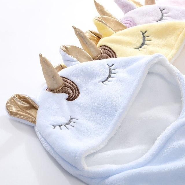 Warm Fleece Unicorn Design Baby Blanket Sleeper 4