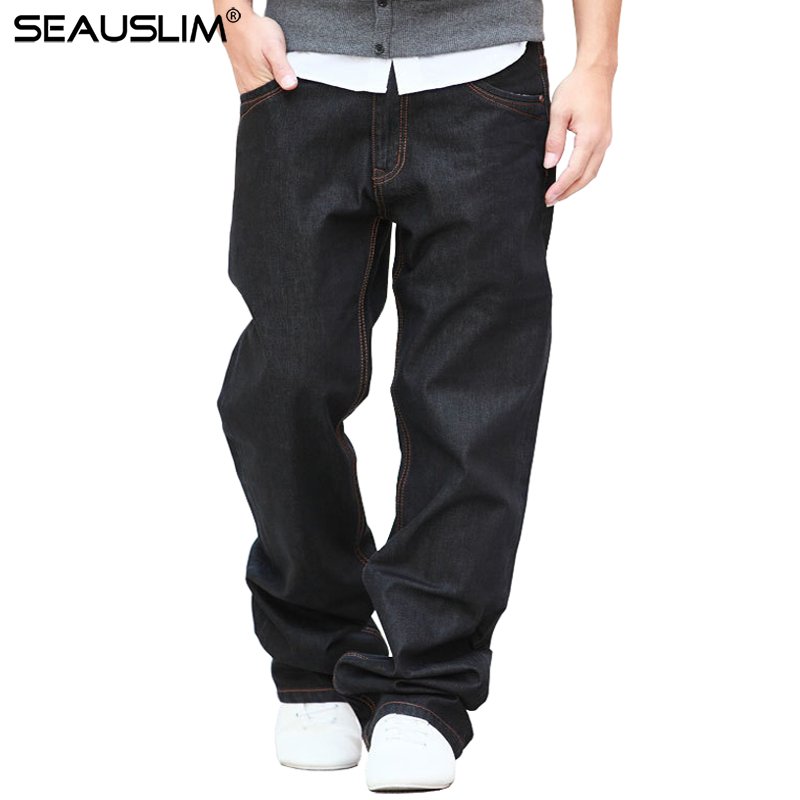 seauslim black baggy jeans men 2017 fashion men straight