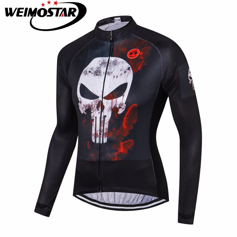 Weimostar Men Cycling Jersey Long Sleeve Black Skull mtb Bicycle Shirt Ropa Ciclismo Maillot Fast Dry Riding Outdoor Bike Jersey