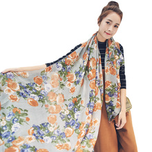 CHSDCSI New 2017 Cotton Scarf Han Flowers Roses And Scarves Quality Goods Printed Chiffon Polyester Scarves Beach Silk Pashmina