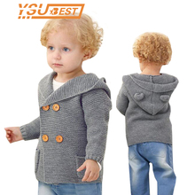 New Kids Knitted Cardigan Autumn Children Hooded Sweater Bear Boys Clothing Baby Sweaters Infant Girls Single-Breasted Jacket
