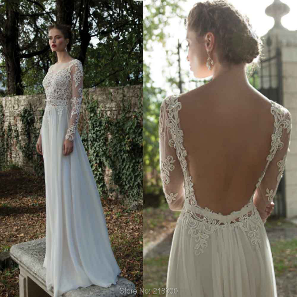 Backless Long Sleeve Lace Open Back Beach Wedding Destination Bridal Gown China