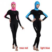 Women's Quick drying One piece 0.5MM Diving Suit Long Sleeve Hood Surf Snorkeling Suit with Bra Pad Full Boating Wetsuit