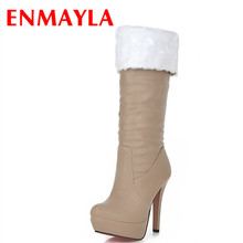 ENMAYLA Women Knee-high Boots Shoes Women Winter Boots High Heels Round Toe White Shoes Large Size 34-43 Women's Fashion Boots