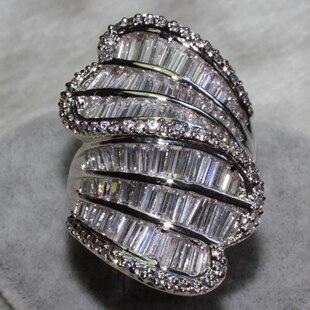 Wholesale Fashion Rings mix size 6PCS PER LOT AAA zircon, has 64 Pebble Grain, T 82 grain drill ALW1414