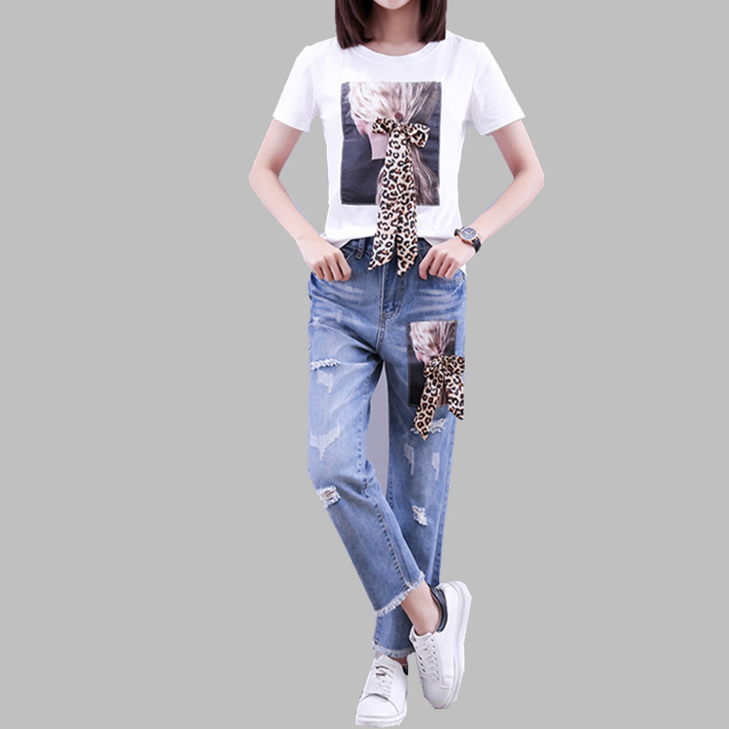 HAMALIEL Runway Women Leopard Printed Character Bow Tshirts Pants Suits Summer Cotton T-Shirt And Denim Tassel Hole Pants Set