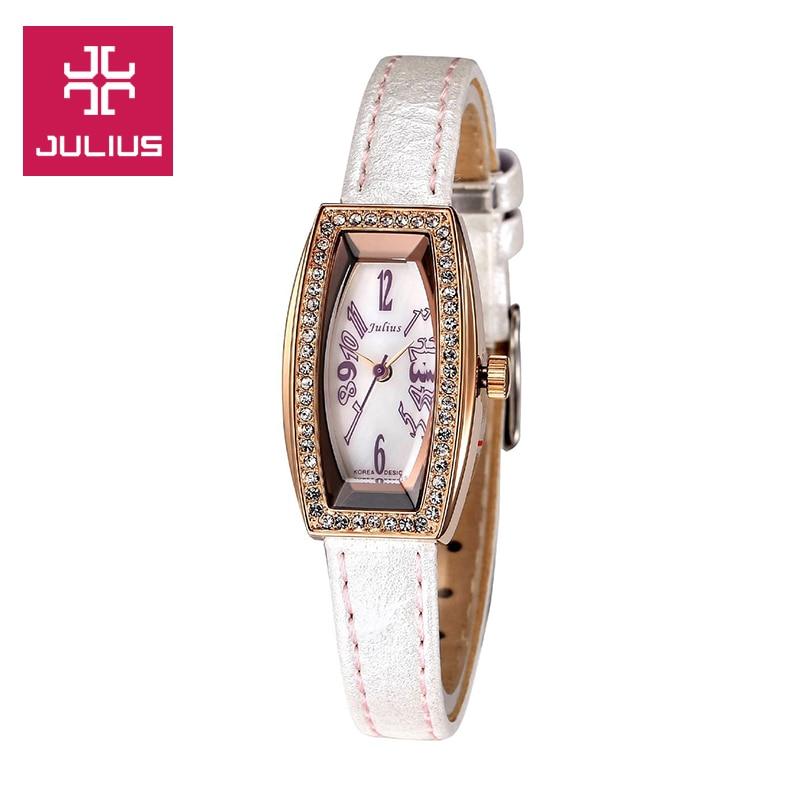 Julius Lady Women s Wrist Watch Quartz Hours Best Fashion Dress Rhinestone Bracelet Multi color Leather
