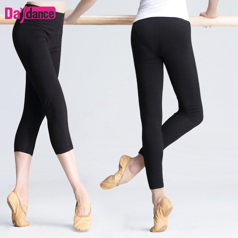 Women Cotton Fabric Compression Leggings Dancing Practicing Gym Workout Trousers Bodybuilding Daily Black Ballet Pants