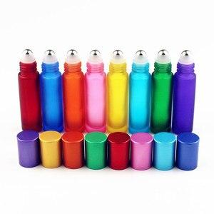 Image 4 - 1 pc 厚い 10 ミリリットルすりガラスロールボトルに天然宝石ローラーボールエッセンシャルオイルバイアル空詰め替え香水ボトル