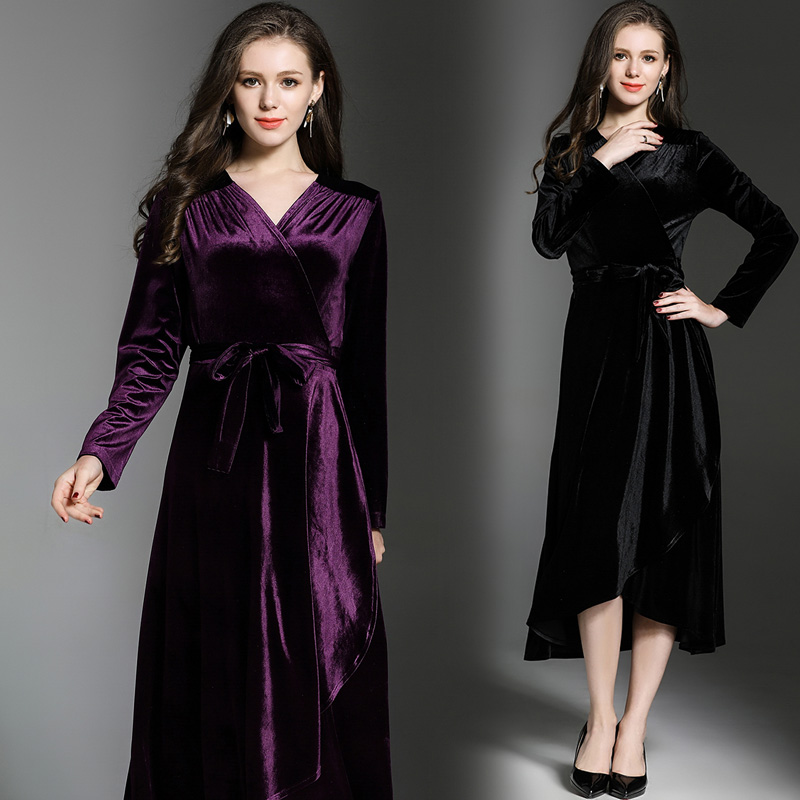 M-3XL Spring Autumn New Vintage Flounce Swing Waist with Belt Velvet V-neck Long Sleeve Women Dress Vestido De Festa Black