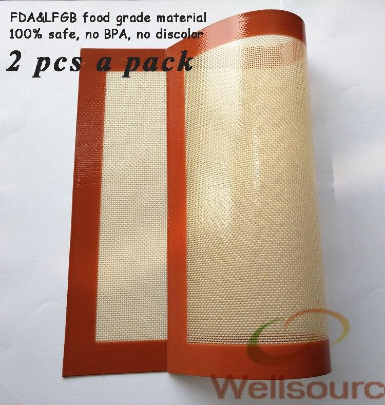 2 Pcs un Pack pour cuisson set 15.75x11.81 pouces non-bâton tapis de cuisson en silicone pâtisserie tapis silicone pâte tapis roulant de cuisson doublure
