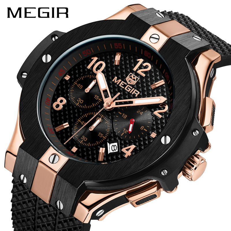 MEGIR Chronograph Sport Watch Men Creative Big Dial Army Military Quartz Watches Clock Men Wrist Watch