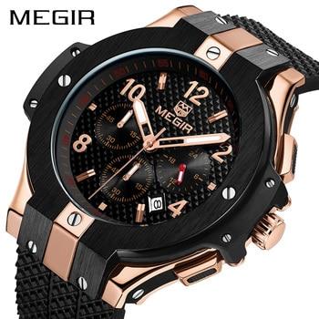 f45b6c97460c Reloj MEGIR deporte cronógrafo reloj creativo gran Dial militar del  ejército relojes de cuarzo reloj de los hombres reloj de pulsera hora reloj  Masculino