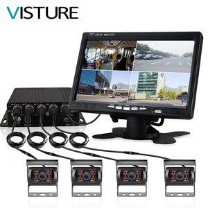 Image 1 - Lkw DVR Dash Kamera 4 Kanal Cam Backup Video Recorder Kit CCTV Rückansicht Monitor Auto Bus IR Nacht Vision visture D008