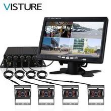 Truck DVR Dash Camera 4 Channel Cam Backup Video Recorder Kit CCTV Rear View Monitor Car Bus IR Night Vision Visture D008