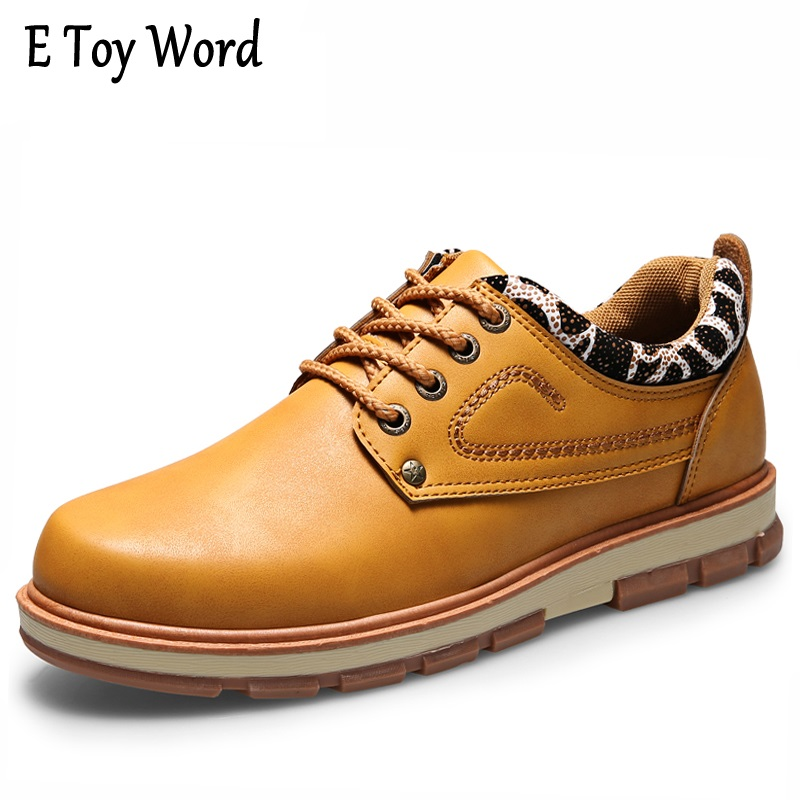 2017New Promotion Mens Casual Shoes Men Autumn Waterproof Solid Lace-up Shoes Man Fashion Flat With Pu Leather Shoes