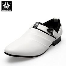 ab020ff3d URBANFIND رجال الأعمال الرسمي الأحذية أسود/أبيض رجل أوكسفورد الاتحاد  الأوروبي 39-44 أحدث نمط أشار تو الانزلاق على الرجال الأزياء.