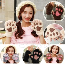 Novelty Paw Plush Half Finger Gloves