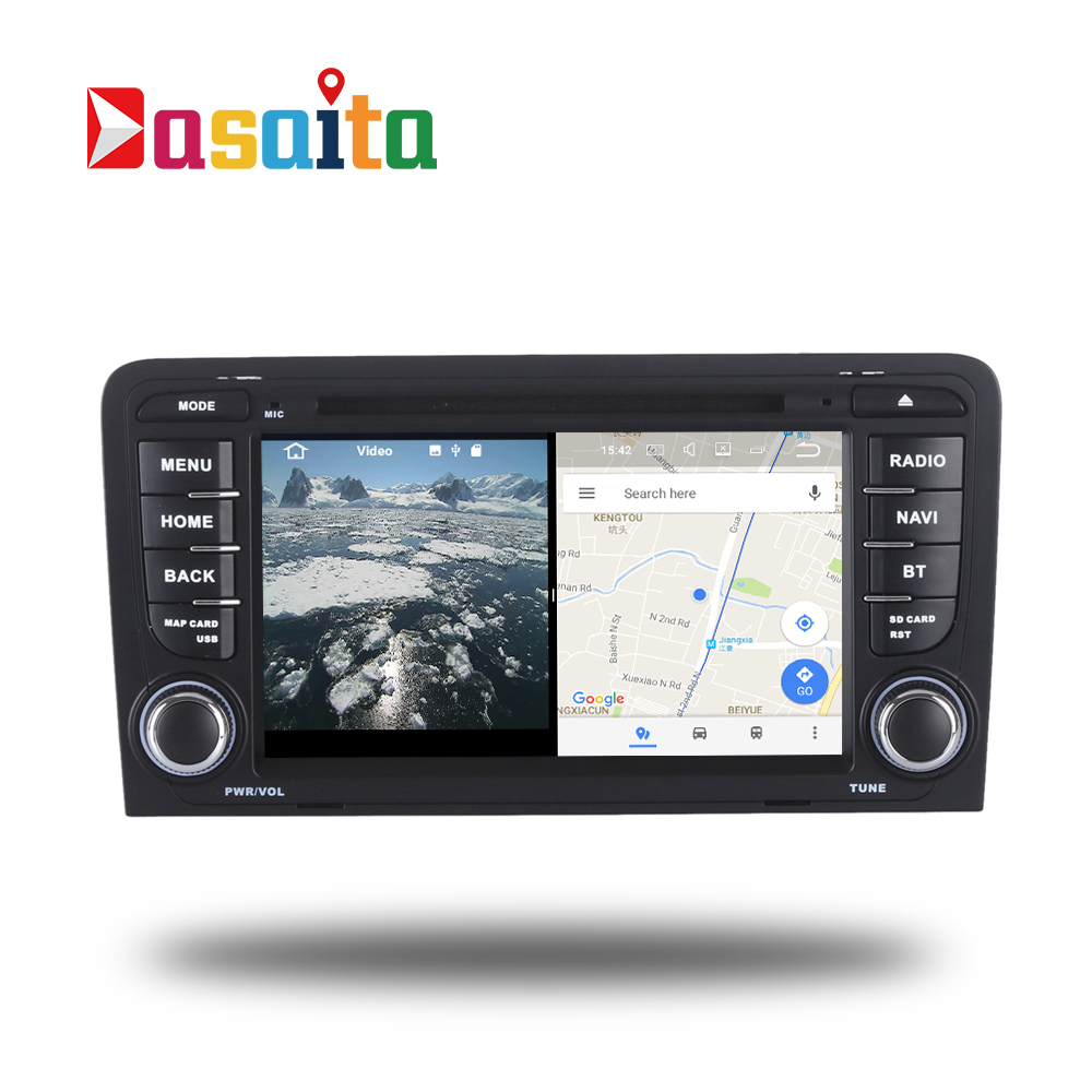 Car Radio 2 Din Android GPS for Audi A3 S3 RS3 03-12 GPS navigation Split Screen head unit audio DVD Video player Android 7.1