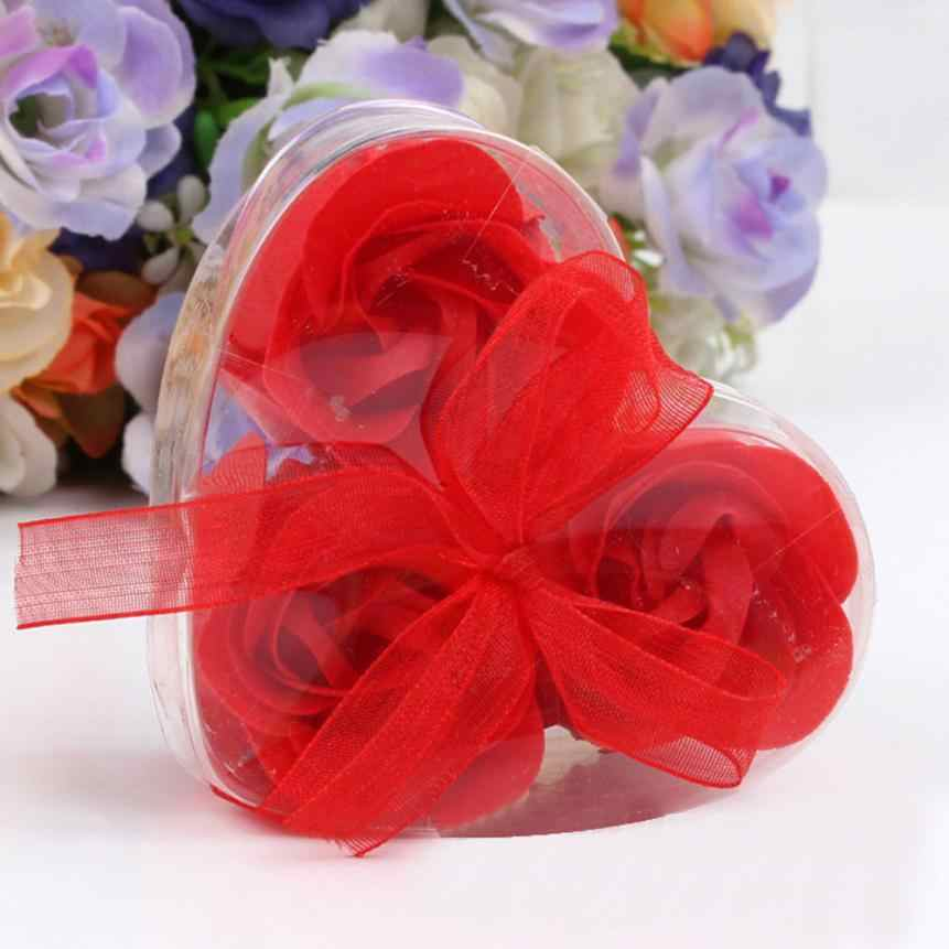 3pcs Heart-Shaped Artificial Rose Soap Flower Bath Body Soap Romantic Souvenirs Valentine's Day Gifts Wedding Favor Party Decor
