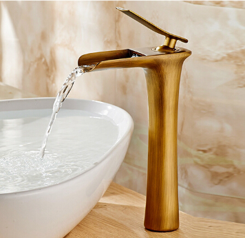 New Arrivals Antique Waterfall Faucet Tall Bathroom Faucet Bathroom Basin Mixer Tap with Hot and Cold Sink faucet new arrivals chrome waterfall faucet tall bathroom faucet bathroom basin mixer sink tap with hot and cold sink faucet