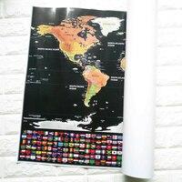 Dünya Haritası Bayrakları Ile Scratch Kapali Map & ABD Devletleri Kişiselleştirilmiş Deluxe Seyahat Sürümü Kazınacak Dünya Haritası Poster Siyah 82.5 cm