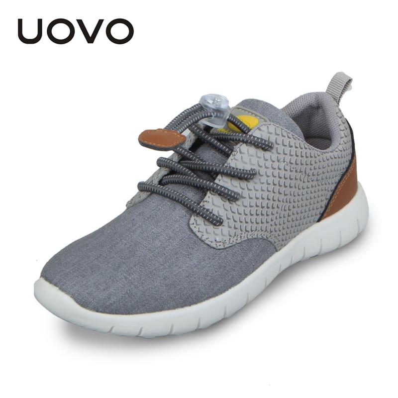 UOVO 2017 Spring Kids Shoes Boys Sport Run Boys Shoes,Premier Casual Children Trainers Shoes,Gray/Denim Blue,Size 31-37,Portable