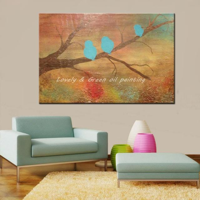 100% Hand Painted Bird Oil Painting On Canvas Modern Abstract Animals Paintings Wall Art Pictures For Wall Decoration No Framed