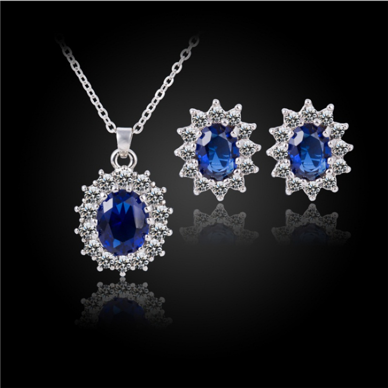 Queen Royal ocean blue gold austrian crystal rhinestones zircon pendant chain necklace earrings ring Jewelry sets