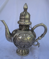 Collectible Decorated Old Handwork Tibet Silver Carved fish Handle Teapot/Flagon Free shipping 00007