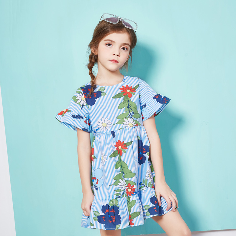 2018 Girls Dress Summer Floral Print Children Dresses for Girls 100% Tiny Cotton Designer Casual Princess Dress Kids 4 6 8 12Y db4368 davebella spring new girls cotton floral dress princess dress children boutique dress sakura dress