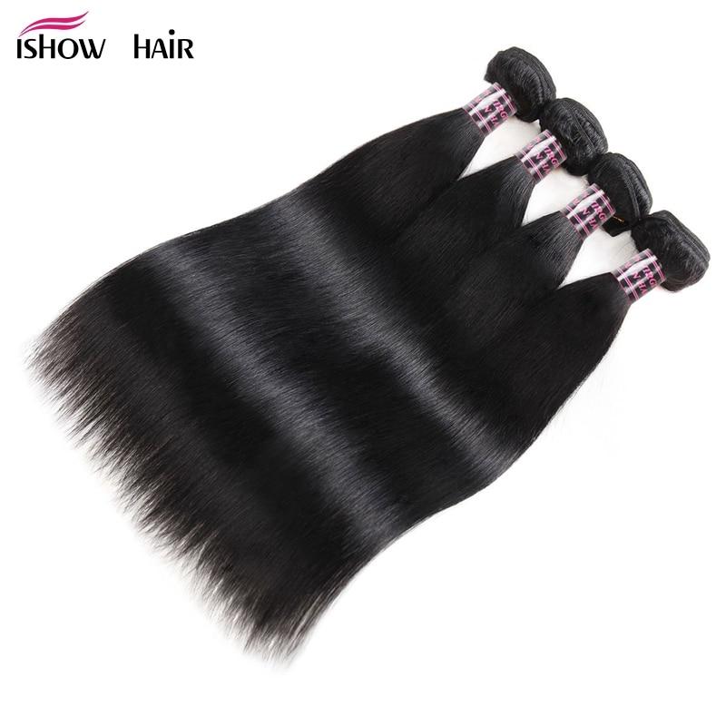 Ishow Straight Hair 4 Bundles Indian Human Hair Weave Extensions 100 Human Hair 4Bundles Deals Non