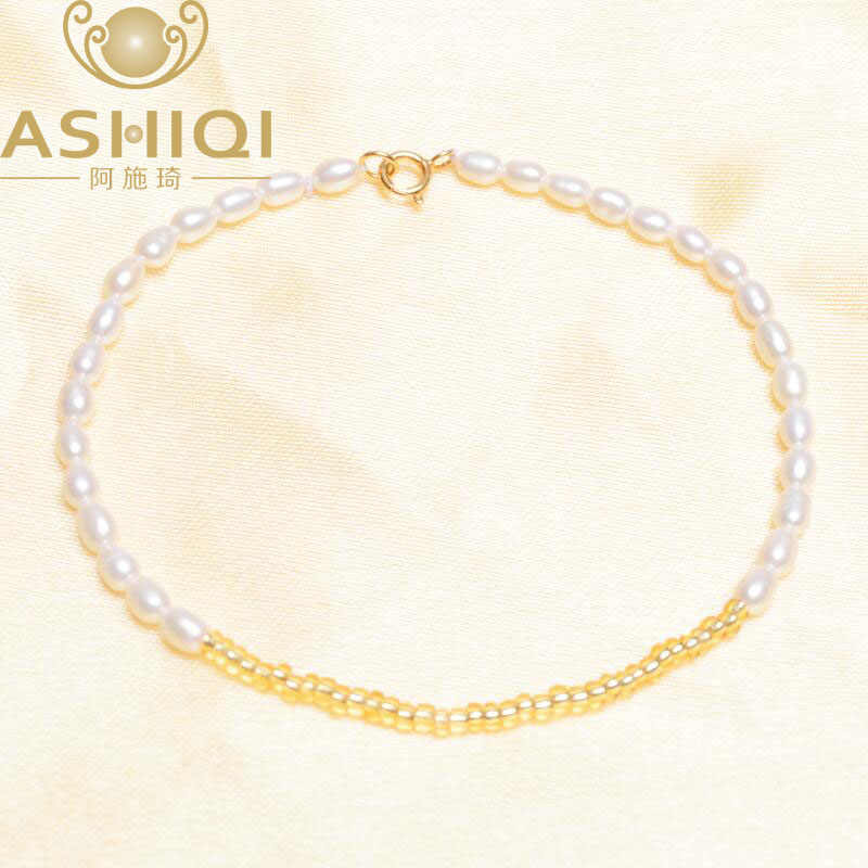 ASHIQI Freshwater Pearl bracelets for women 925 Solid sterling silver Clasp Crystal Beaded Bangles jewelry gift