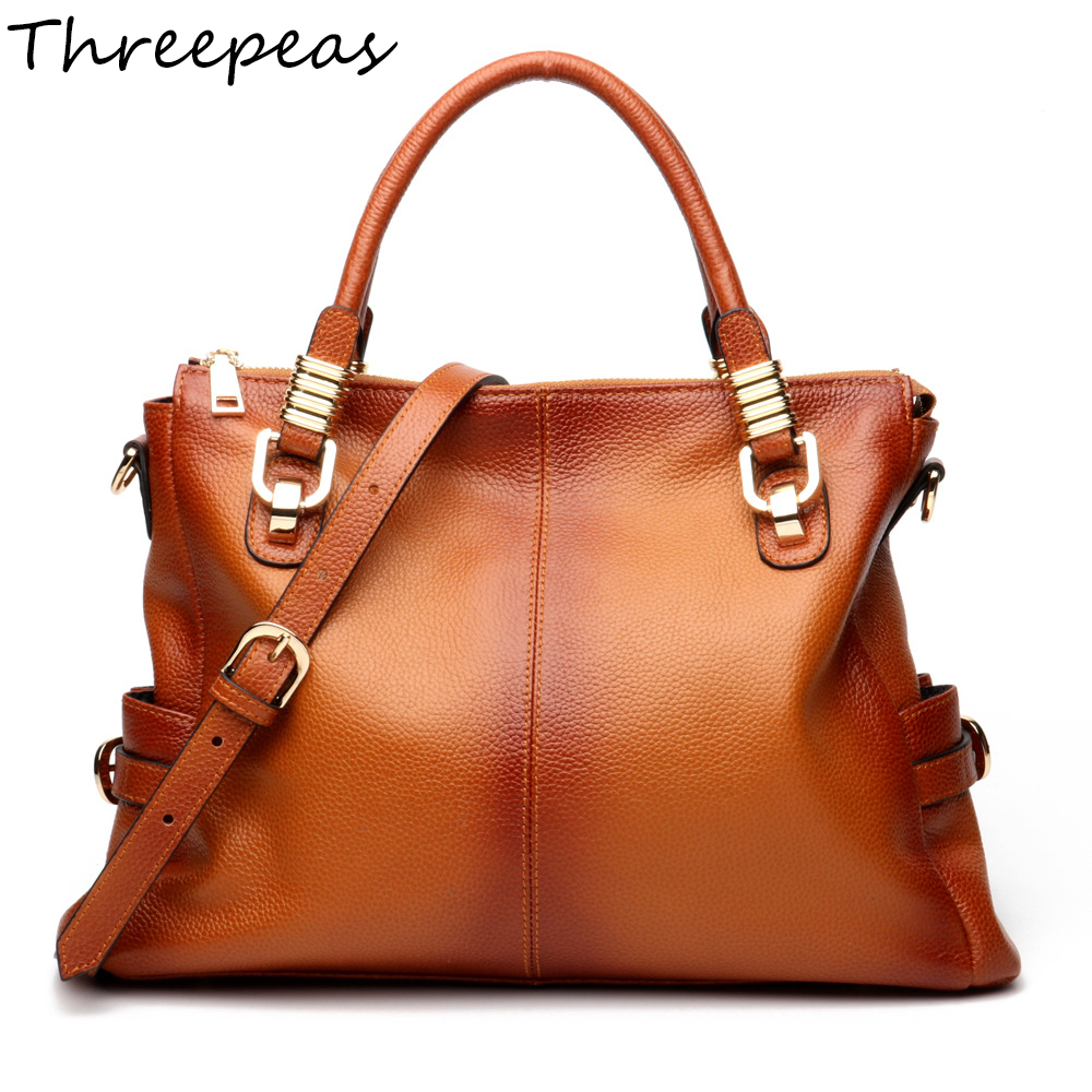 THREEPEAS Handbags Women Shoulder Bag High Quality Brown Hand Bag Ladies Genuine Leather Designer Casual Tote Crossbody Bags feral cat women small shell bag pvc zipper single shoulder bag luxury quality ladies hand bags girls designer crossbody bag tas