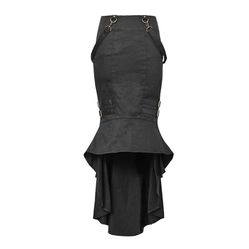 Gothique Sexy Satin Mature dames longue jupe en queue de poisson Punk mi-mollet jupe avec harnais Style uniforme mince tissu jupe à volants