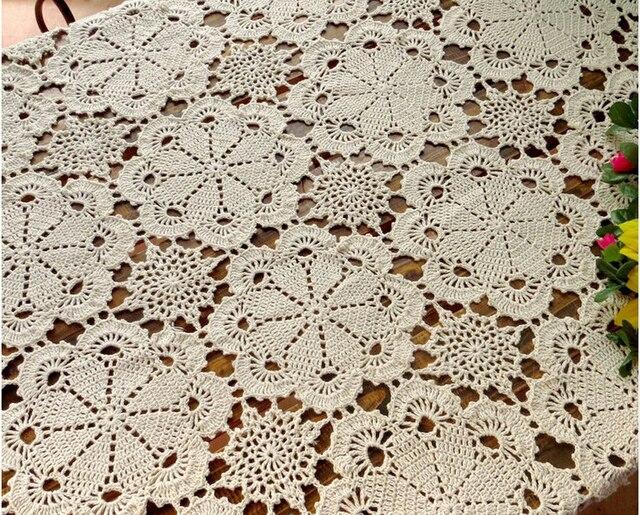 € 47.17 20% de DESCUENTO|Envío libre de la flor de ganchillo hecho a mano  mantel café camino de mesa algodón Encaje Hollow tapetes rectangulares ...