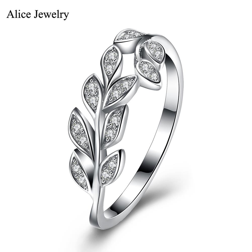 Svr145 Classic 100% Genuine Real Pure 925 Sterling Silver Ring Aaa Zircon  Leaf Party