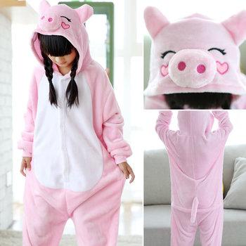 c65ad758cc3d Rosa lindo cerdo ropa para niños niñas de una pieza pijamas niños Kigurumi  de dibujos animados de Halloween traje de invierno ropa de dormir